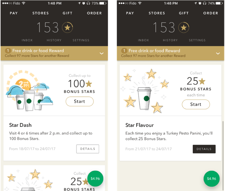 Starbucks uses a gamification model to help drive activity with its loyalty program