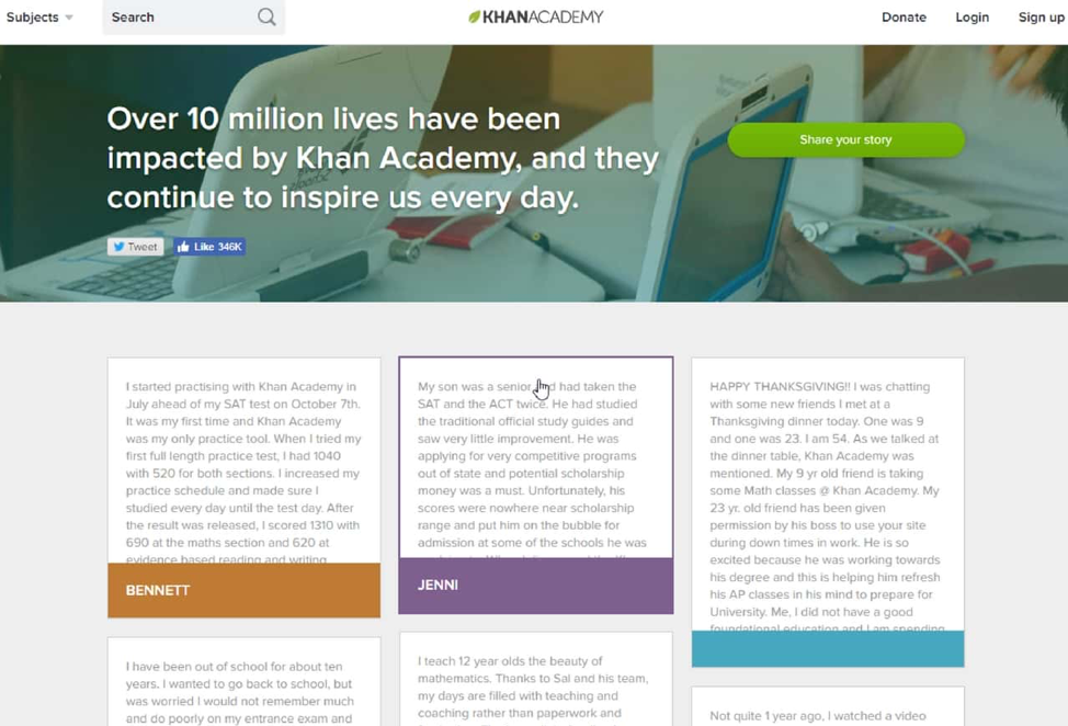 """Here's how Khan Academy uses social proof on its """"Stories"""" page"""