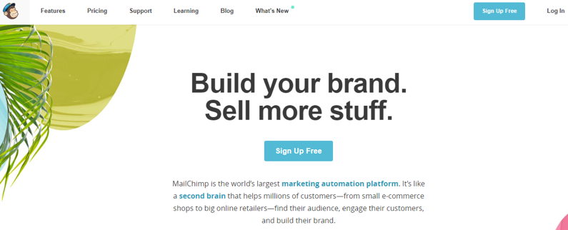 Mailchimp provides a great example of CTAs done right