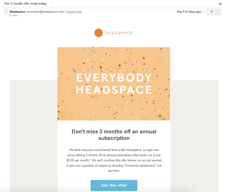 Headspace Upgrade for 3 months off