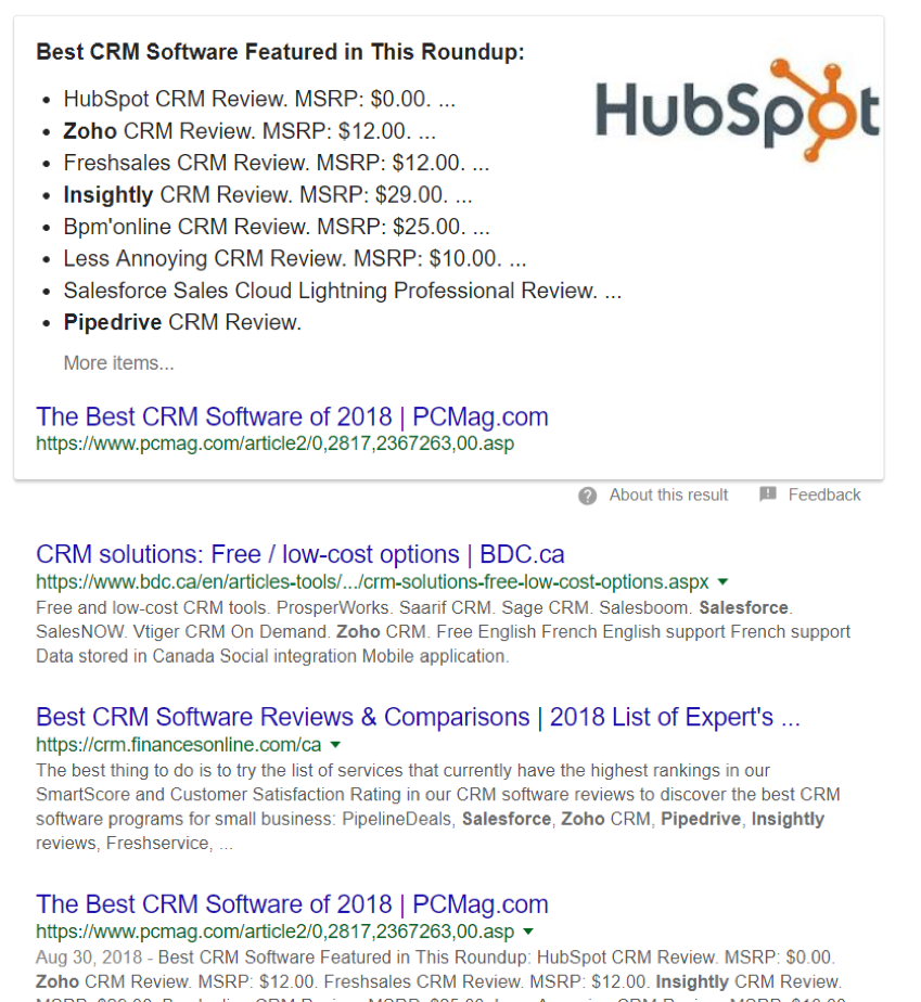 google search featured hubspot with software reviews