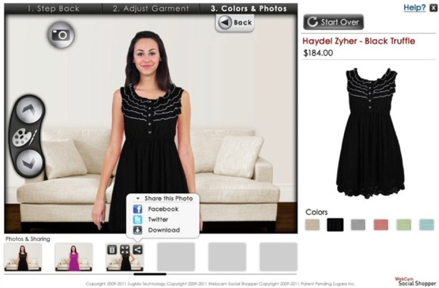 customers webcam as an electronic mirror shows how clothes looks on them