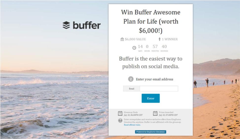 Buffer giveaway management software