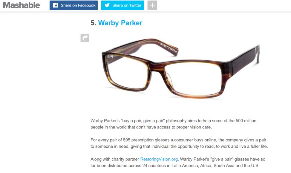 Mashable showing backlink to warby parker glasses